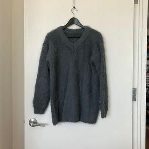 Sweaters - Faux Fur Oversized V-Neck Sweater